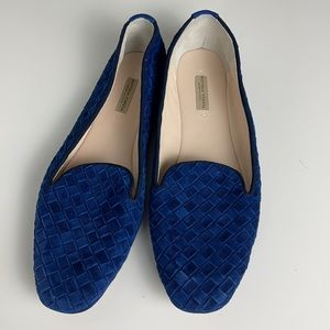 Bottega Veneta Luxe Kid Suede Weaved Blue Flat